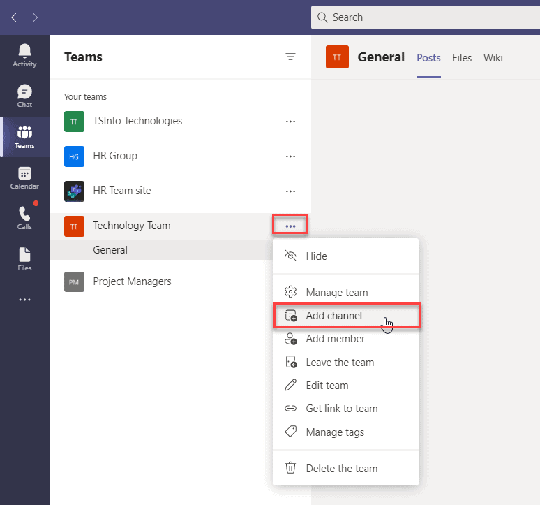 create a channel in teams