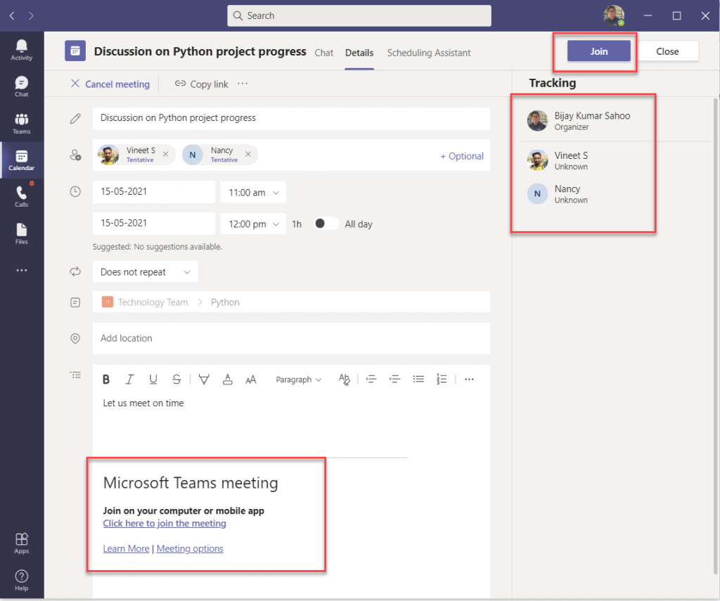 schedule a meeting in Microsoft Teams desktop app
