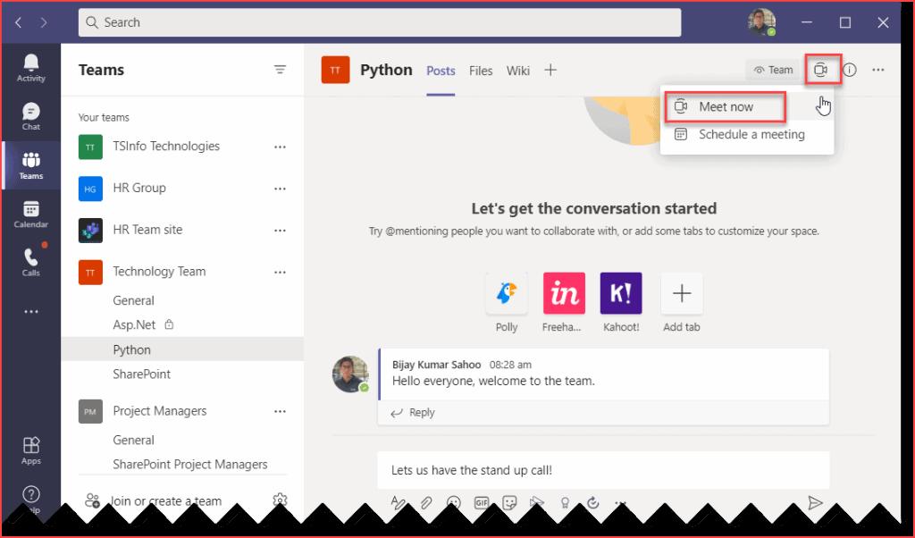 start a video call in Microsoft Teams