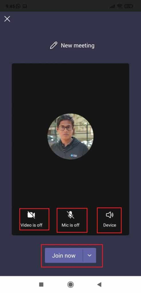 start a video call in Microsoft Teams mobile app