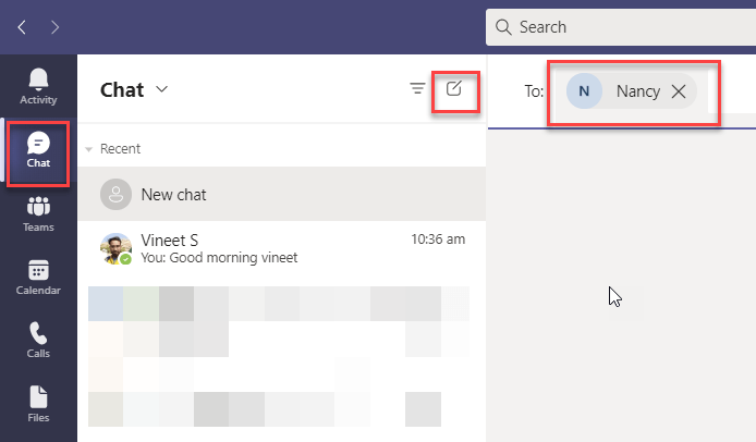 start an instant messaging in Microsoft Teams