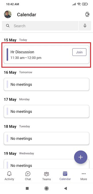 steps to schedule a meeting in Microsoft Teams mobile app