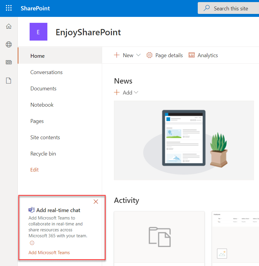 Create a team in Microsoft teams from existing SharePoint site