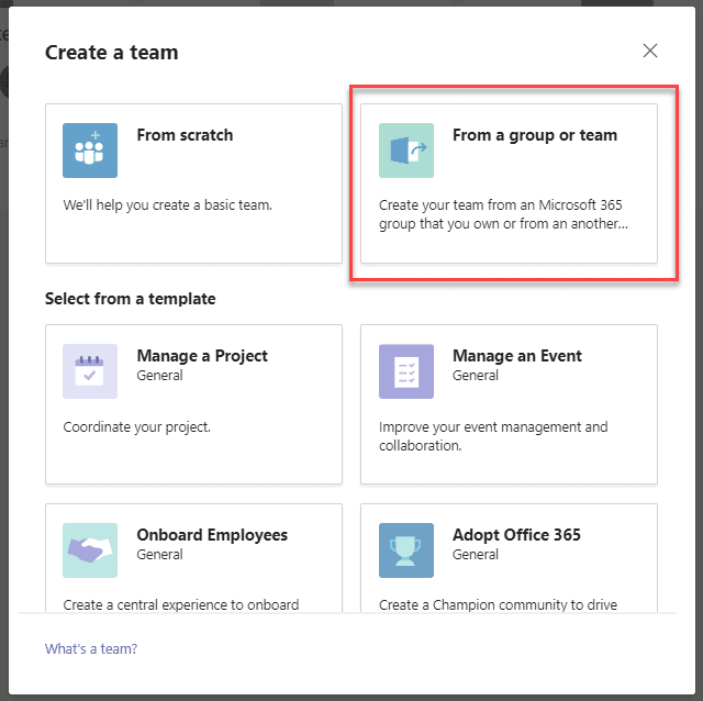 Create a team in Microsoft teams from existing group