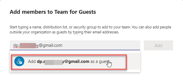 Create a team in Microsoft teams with external users