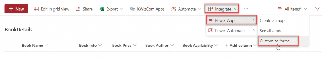 Customize SharePoint Online List form using PowerApps