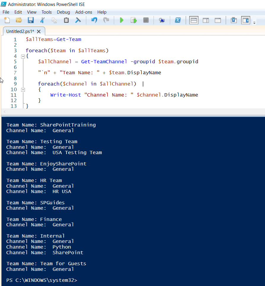 Get all teams and channels using PowerShell