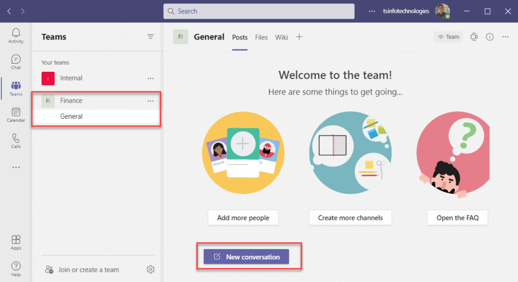 Microsoft teams create a team
