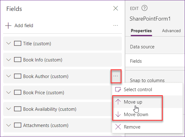 Move field in Power Apps custom form