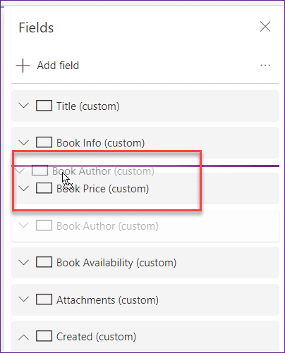 Move field in PowerApps custom form