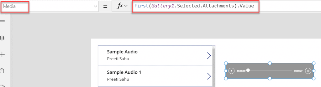 Power Apps play audio from SharePoint list