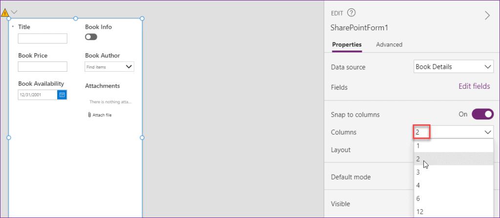 PowerApps Change the Custom Form Column