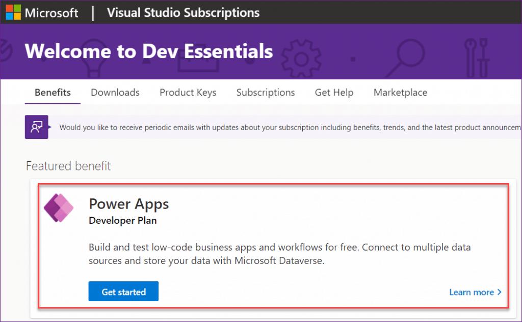 PowerApps Developer Plan with Visual Studio Dev Essentials