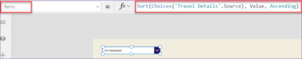 PowerApps choice order