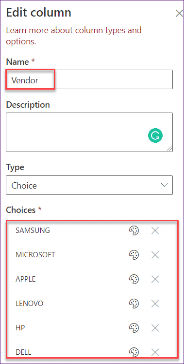 PowerApps choices manual
