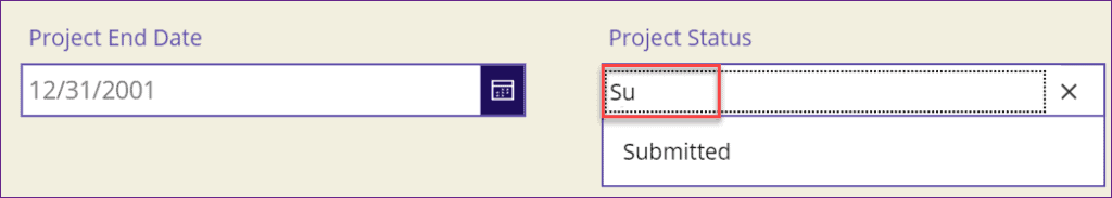 PowerApps choices search text