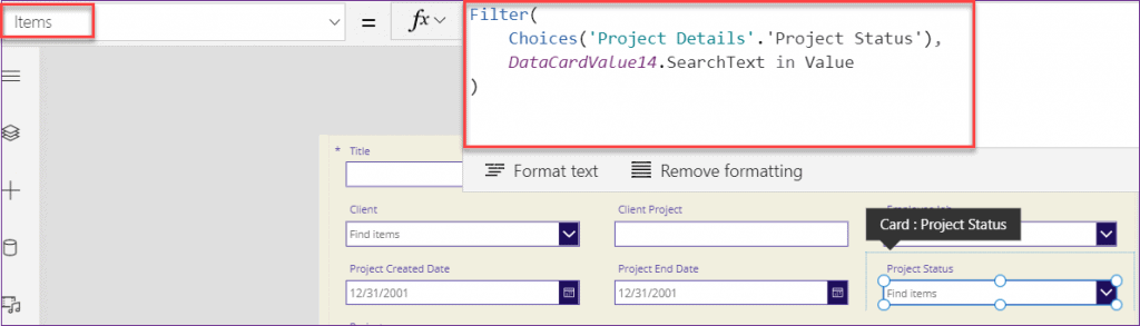 PowerApps choices searchtext