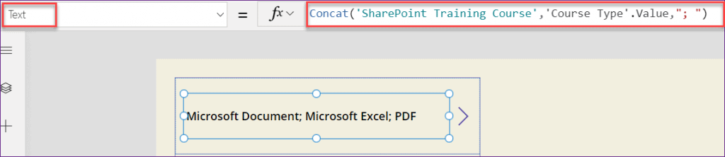 PowerApps display choice field in gallery control