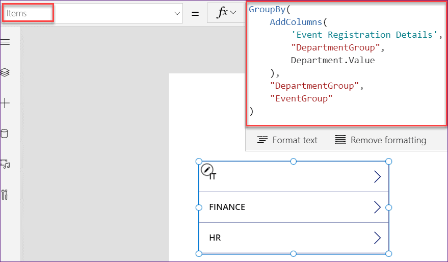 PowerApps groupby choice column
