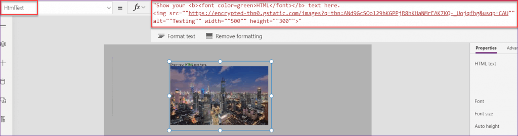 PowerApps html control image