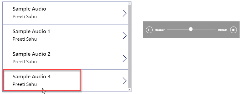 PowerApps play audio from SharePoint list