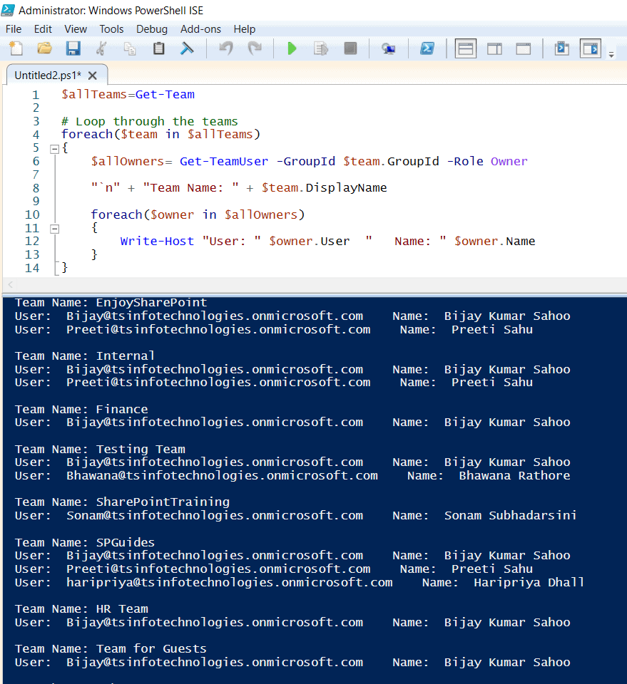 PowerShell get all teams and owners