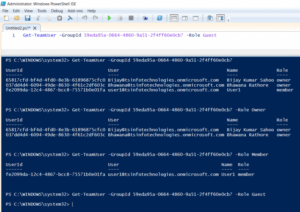 PowerShell get all teams users