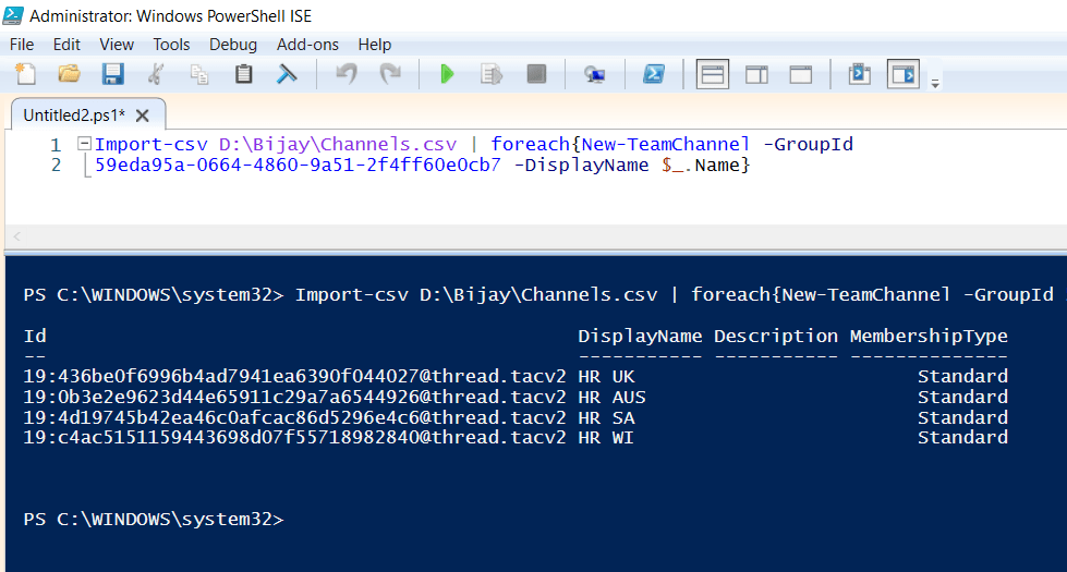 add channel to team from CSV file using powershell
