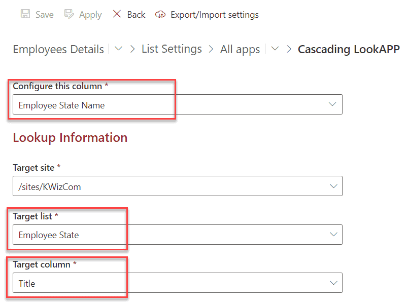 cascading lookup in sharepoint