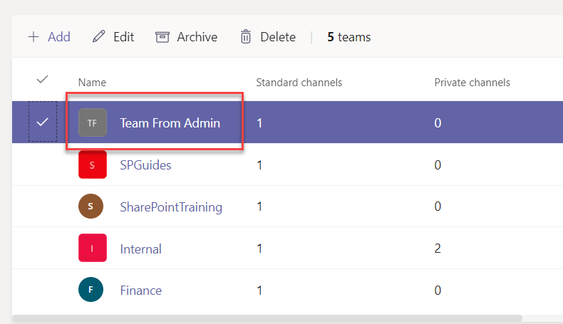 create a team in Microsoft teams from admin center