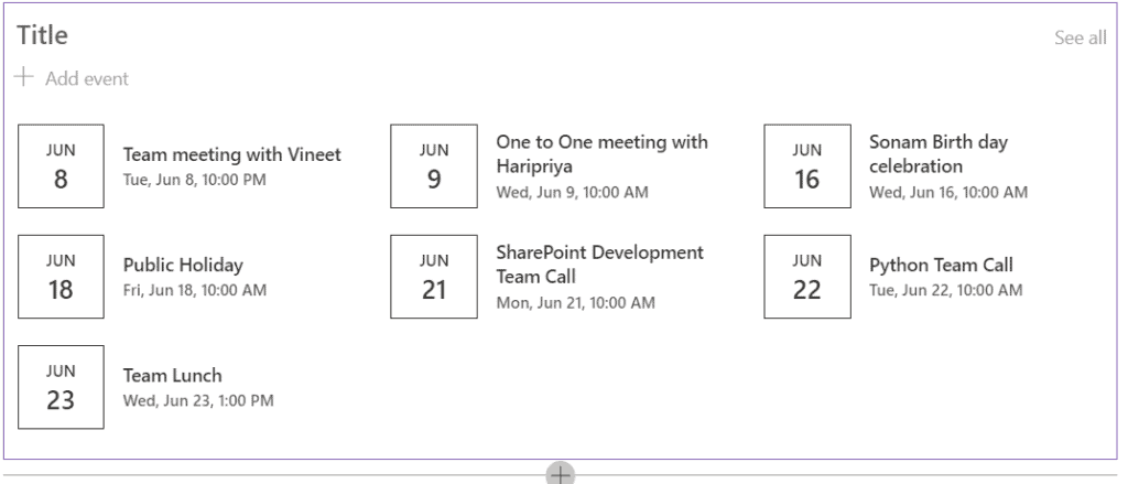 display calendar in modern sharepoint page
