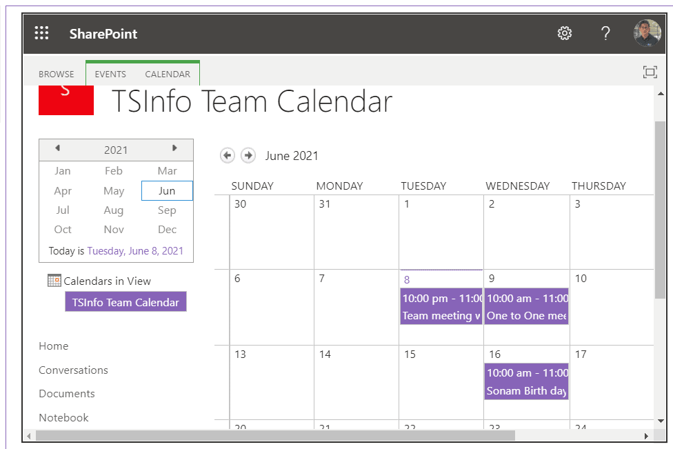 embed sharepoint online calendar in modern page