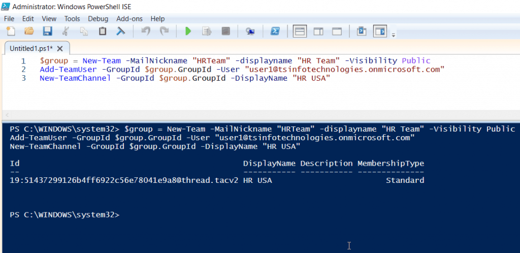 teams powershell connect