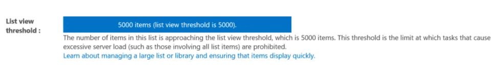 the number of items in this list exceeds the list view threshold which is 5000 items