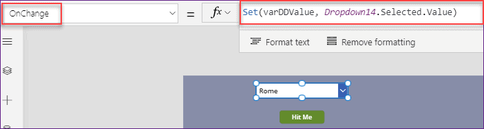Power Apps dropdown control set selected value
