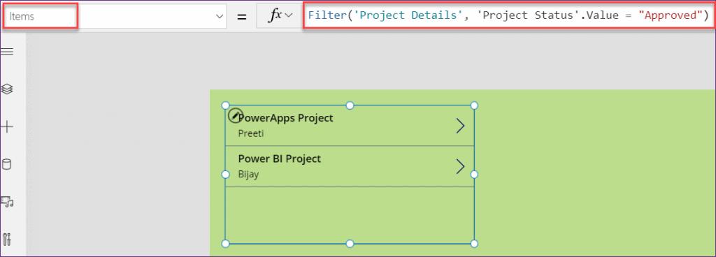 Power Apps filter sharepoint list choice field