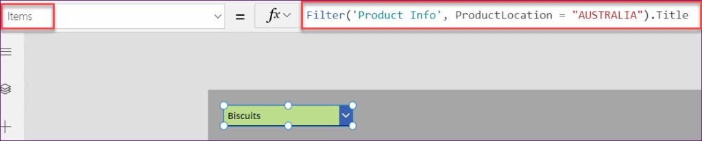 Power Apps filter sharepoint list lookup columns