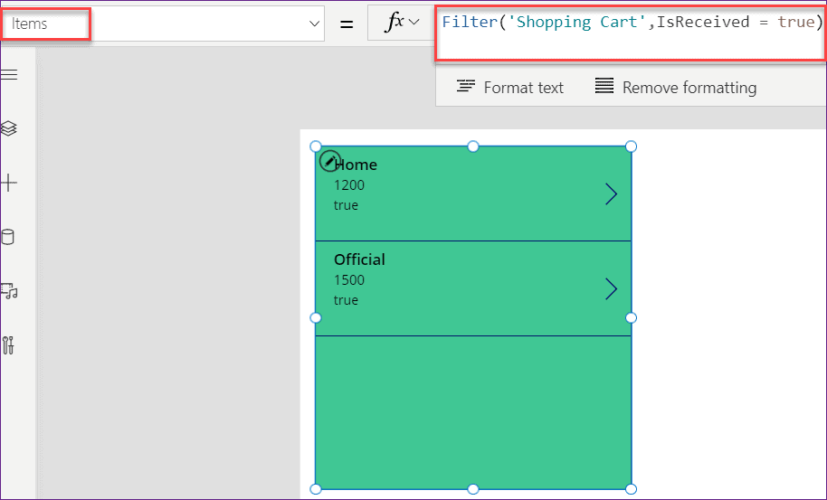 Power Apps filter sharepoint list yes no