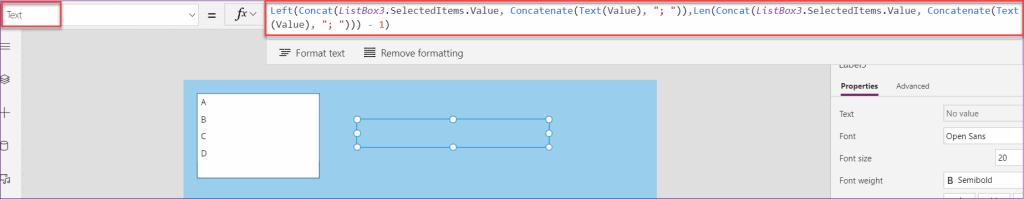 Power Apps listbox concat