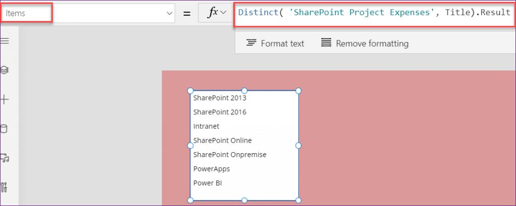 Power Apps listbox distinct