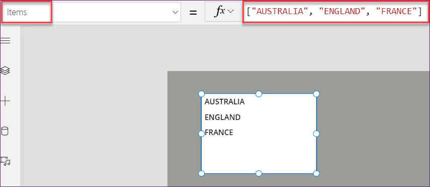PowerApps Listbox Example