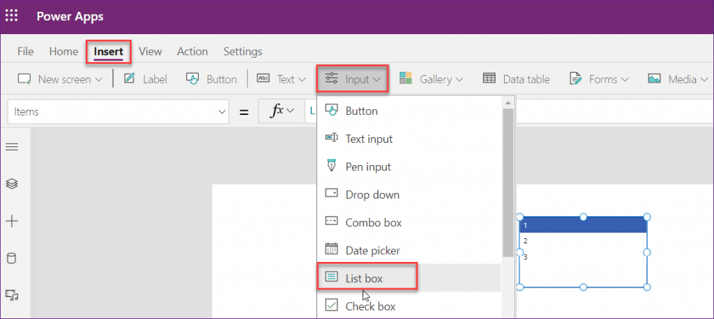 PowerApps Listbox control