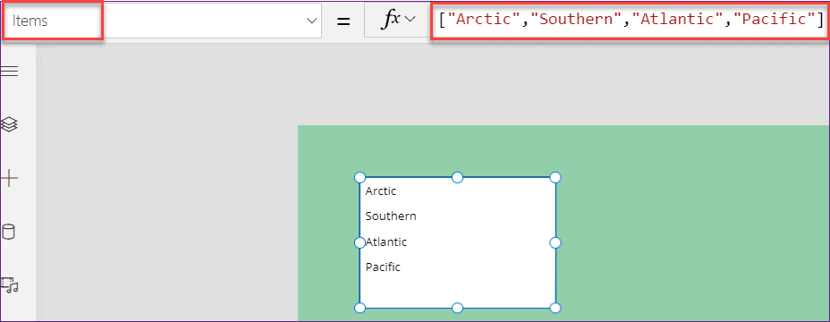 PowerApps Listbox items