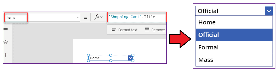 PowerApps dropdown items from sharepoint list