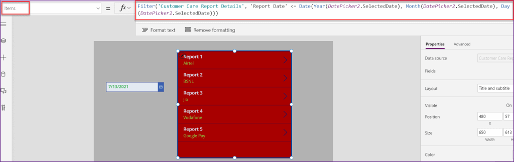 PowerApps filter sharepoint list by date