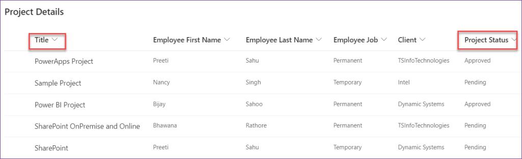 PowerApps filter sharepoint list by column