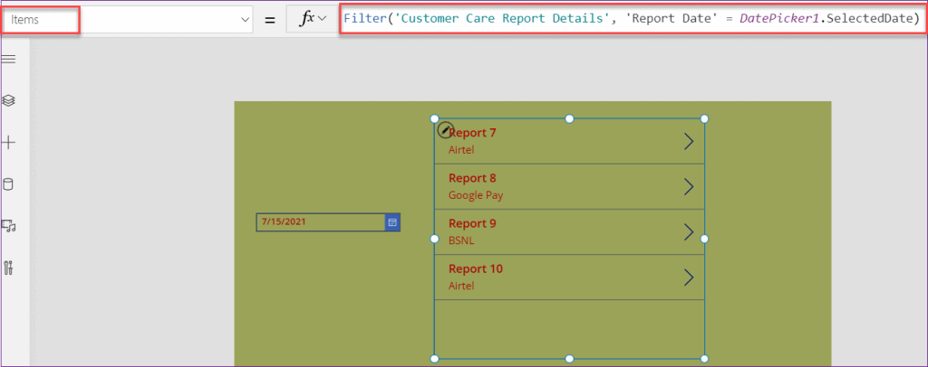 PowerApps filter sharepoint list by today