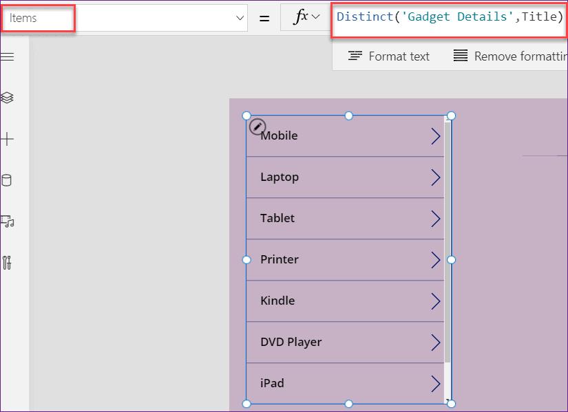 PowerApps filter sharepoint list distinct column