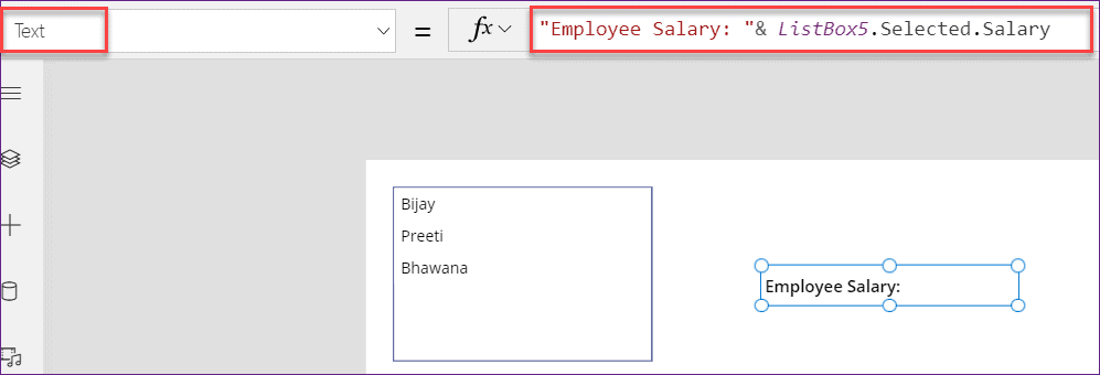 PowerApps list box collection