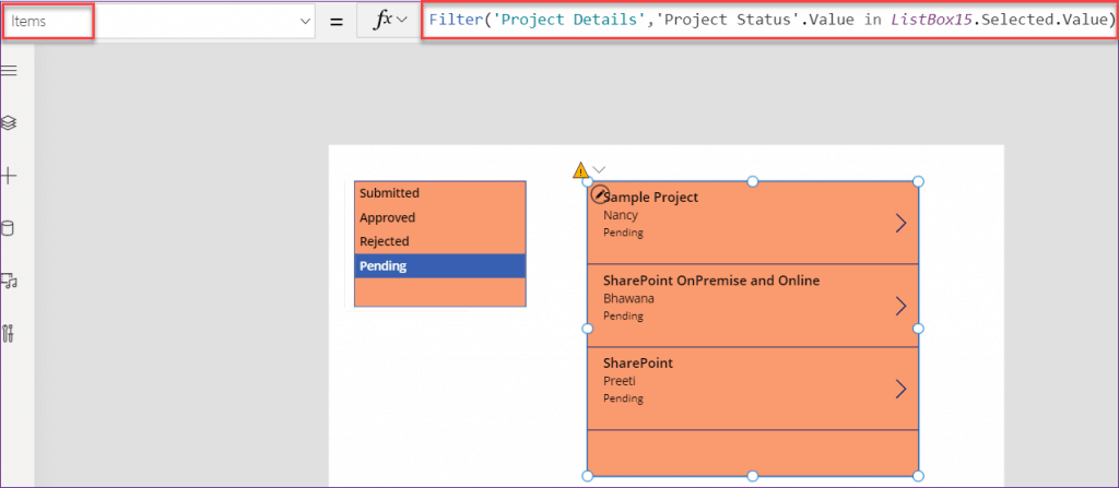 PowerApps listbox filter